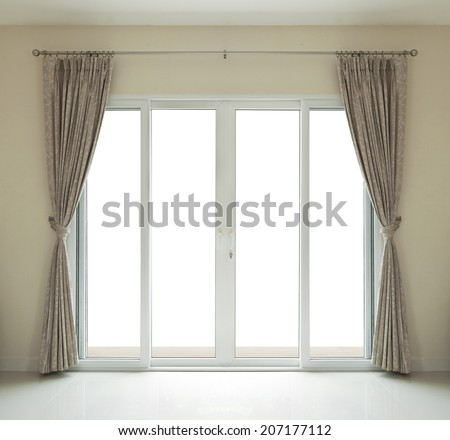 window door close on white background. - stock photo