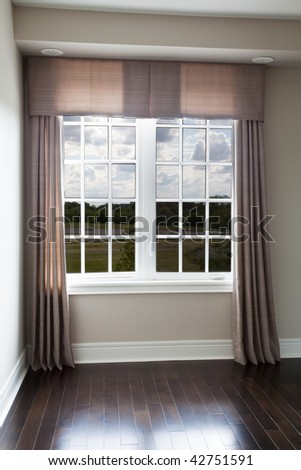 Window drapery with side panels and valance - stock photo