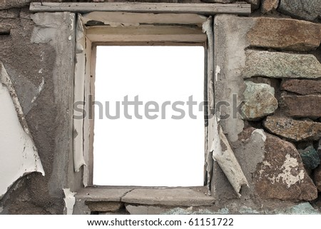 Window frame inside a old brick wall - stock photo