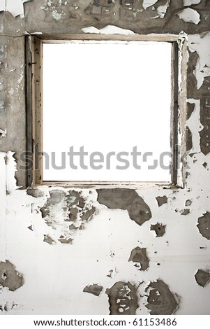 Window frame inside a old plastered wall - stock photo