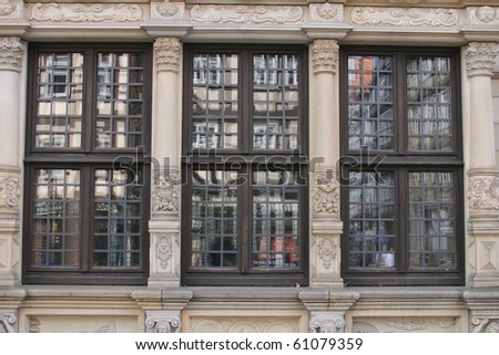 window front of historic building in Germany
