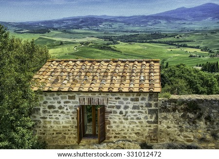 Window in a Wall Overlooking the Valley in Val D'Orcia, Tuscany, Italy