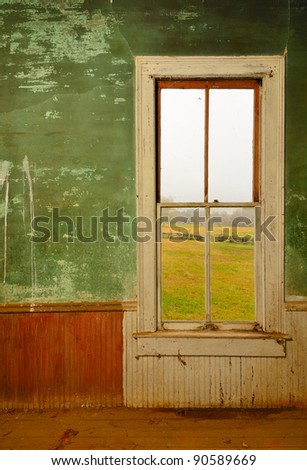 Window in an old antique home - stock photo