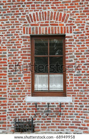 window in an old house, Belgium, - stock photo