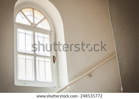 Window in an old monastery of cloistered - stock photo