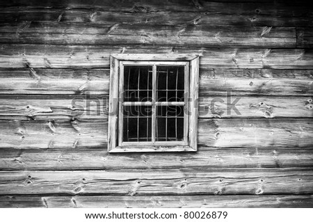 Window in old cottage in retro style - stock photo