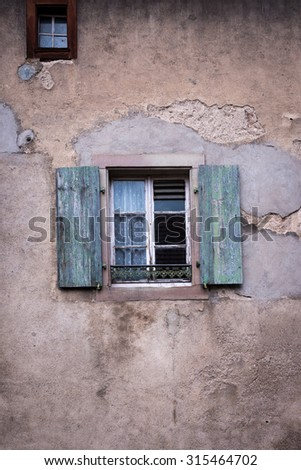Window in the Alsace village of Turckheim, France