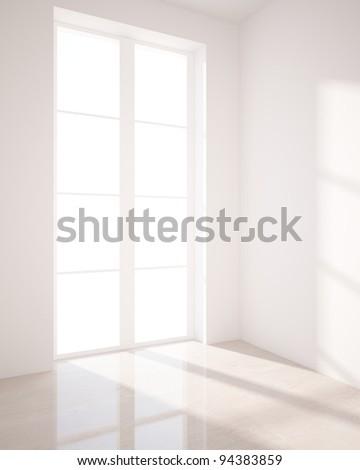 window in white room - stock photo