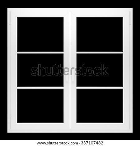 window isolated on black background - stock photo