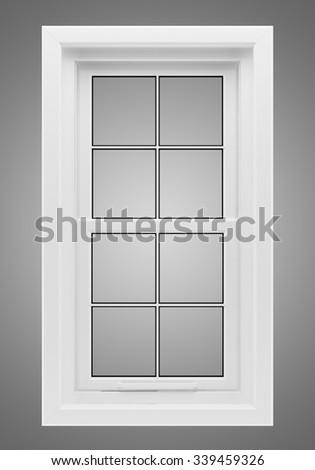 window isolated on gray background - stock photo