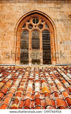 Window of ancient Cathedral in Salamanca, Spain - stock photo