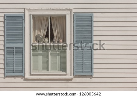 Window of New England historic house in Rockport - stock photo