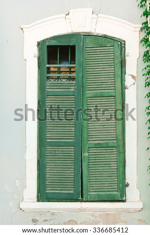 Window of Old Building before Reconstruction in Tel Aviv - stock photo