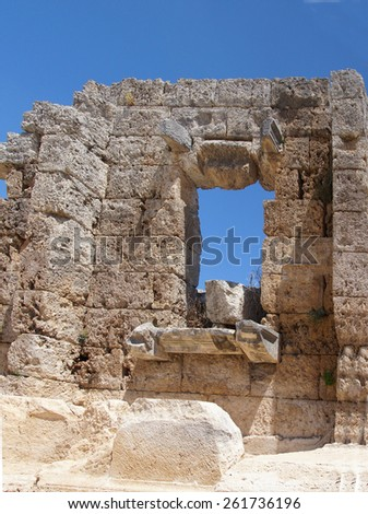 Window of partially restored house  in the ancient Greek city of  Perge,  Turkey