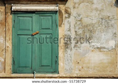 Window on cement wall - stock photo