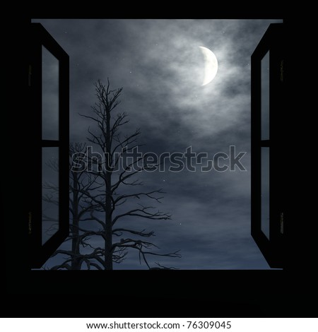 Window open to cloudy night. Trees without leaves . A Crescent moon fills the sky. Original illustration - stock photo