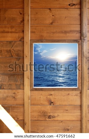 Window seascape view from wooden frame room [Photo Illustration] - stock photo