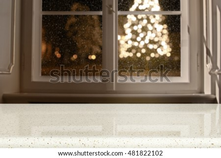 window sill and xmas tree background