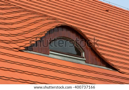 window tile roof - stock photo