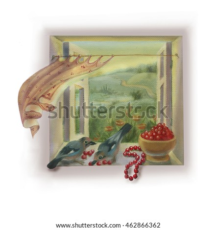 Window view, jay and cherries, fairy tale art. Scrap booking element or picture for sidebar, header, footer on white background.