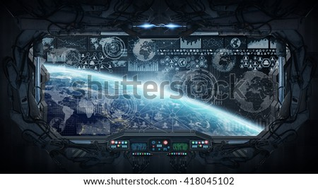 Window view of planet earth from a space station 'elements of this image furnished by NASA' '3D rendering' - stock photo