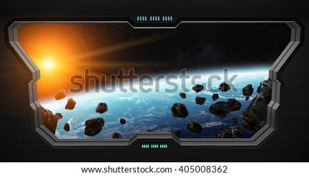Window view of space from a space station '3D rendering' - stock photo