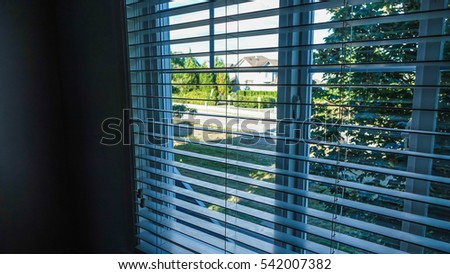 Window view through the blinds in Surrey, Vancouver, Canada