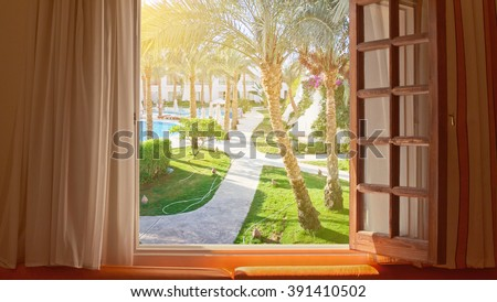 window view tropical vacation - stock photo