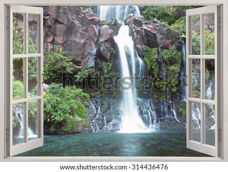 Window viewi to Cascade du Bassin Cormoran waterfall,Reunion island, Indian ocean
