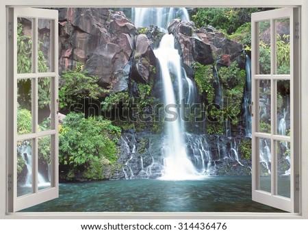 Window viewi to Cascade du Bassin Cormoran waterfall,Reunion island, Indian ocean - stock photo