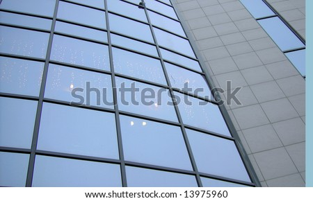 window wall of trading center in city