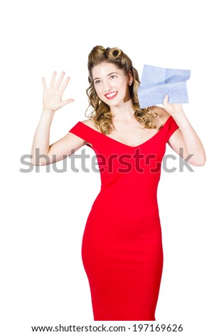 Window washing pin-up woman holding cloth on invisible window with cleaning service copyspace on white background. Pinup maids - stock photo
