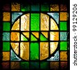 window with colorful glass mosaic - stock photo
