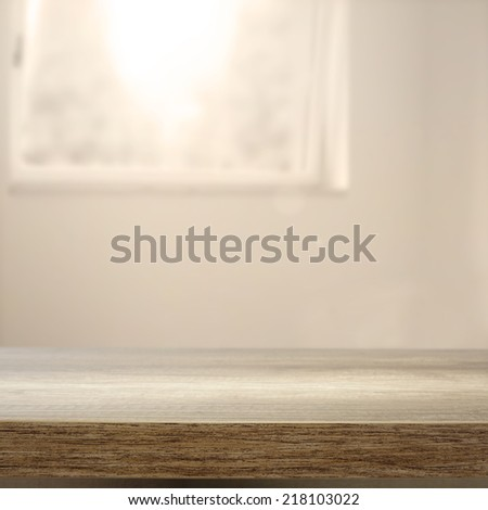 window with desk of wood and free space for you  - stock photo