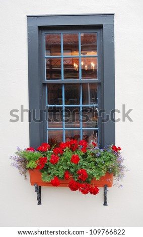 window with flowers - stock photo