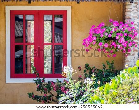 Window With Fresh Flowers - stock photo