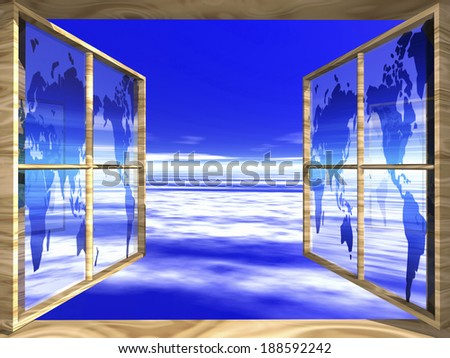 Window with map looking out at blue sky  - stock photo