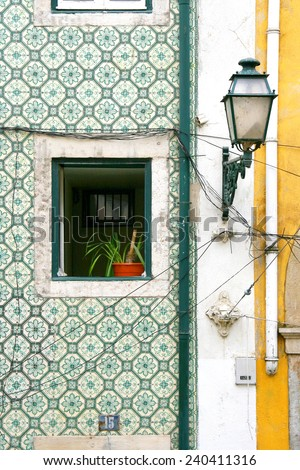 Window with tiles at Lisboa, Portugal - stock photo