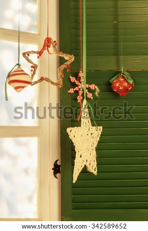 Window with traditional Christmas decoration