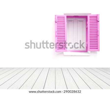 window with wall and wood floor background - stock photo