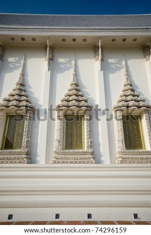 Windows art at Thai church in temple , Middle of Thailand.