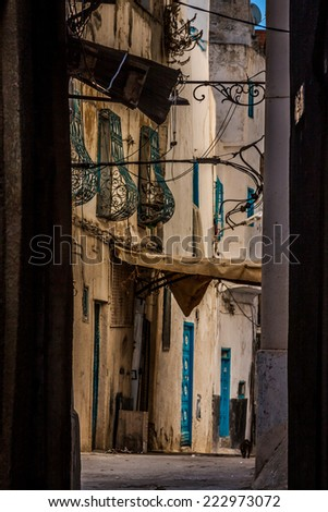 Windows in traditional style.Tunis - stock photo