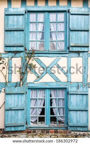 Windows of a timber frame building, Gerberoy, Oise, France - stock photo