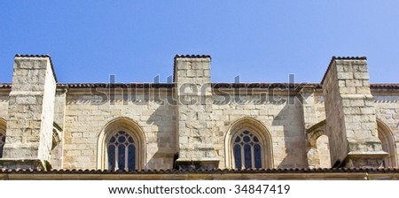 Windows of an old building - stock photo
