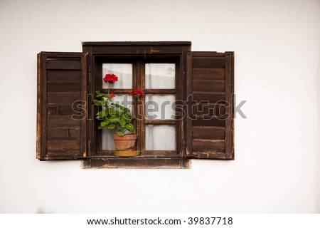 Windows of old Hungarian farmer's house with red flower and shutters