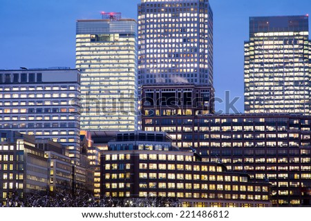 Windows of Skyscraper Business Office, Corporate building in London City, England, UK - stock photo