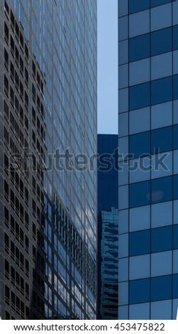 Windows of Skyscraper Business Office, Corporate building in New York City, USA. Windows of office buildings, cool business background