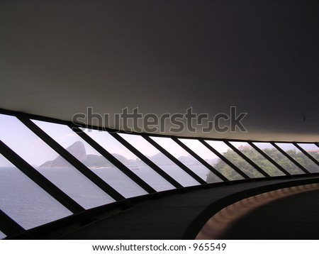windows of the museum - stock photo