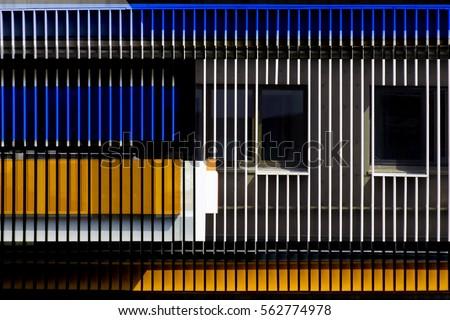 windows seen through jalousie louvers blinds stock photo 562774978 shutterstock. Black Bedroom Furniture Sets. Home Design Ideas