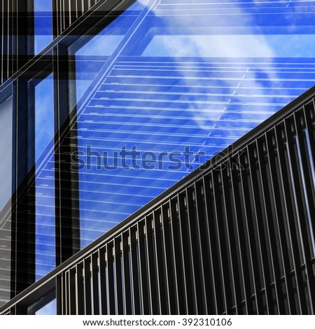 Windows through windows. Urban / office close-up with jalousie / blinds / shutters. Contemporary abstract architecture photograph. - stock photo